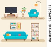 living room with furniture.... | Shutterstock .eps vector #413982946