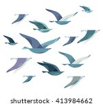 set of different flying birds... | Shutterstock .eps vector #413984662