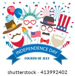 fourth of july  background with ... | Shutterstock .eps vector #413992402