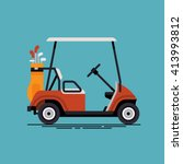 cool vector golf car with golf... | Shutterstock .eps vector #413993812