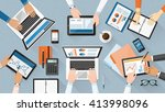 business team working together... | Shutterstock .eps vector #413998096