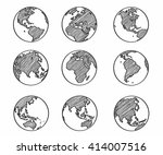 collection of freehand world... | Shutterstock .eps vector #414007516