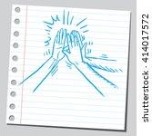 high five group of hands | Shutterstock .eps vector #414017572