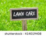 sign on a green lawn   lawn care | Shutterstock . vector #414019408
