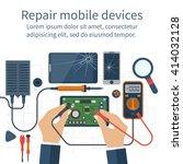 mobile phone repair. vector... | Shutterstock .eps vector #414032128