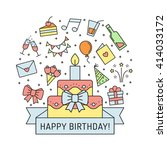 happy birthday multicolored... | Shutterstock .eps vector #414033172