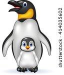 happy emperor penguin with baby | Shutterstock .eps vector #414035602