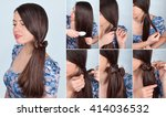 simple hairstyle self tail with ... | Shutterstock . vector #414036532