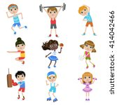children doing sports set of... | Shutterstock .eps vector #414042466