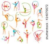 set of color girl figures... | Shutterstock .eps vector #414070072