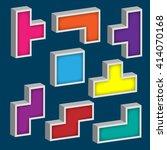 design set of 3d tetris game...