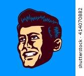 retro mid century man face... | Shutterstock .eps vector #414070882