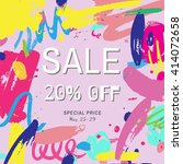 sale poster  bright hand drawn... | Shutterstock .eps vector #414072658
