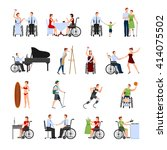 disabled people leading full... | Shutterstock .eps vector #414075502