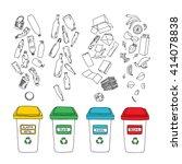 vector waste sorting set. hand... | Shutterstock .eps vector #414078838