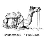 camel in the desert sketch the... | Shutterstock . vector #414080536