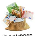 Burlap Sack Filled With Euro...
