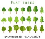 flat trees. set of green trees... | Shutterstock .eps vector #414092575