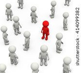 red 3d character stand out in a ... | Shutterstock . vector #414099382