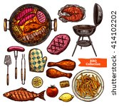 bbq grill color sketch set.... | Shutterstock .eps vector #414102202