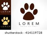 Stock vector paw print vector logo 414119728