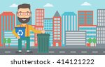man with recycle bins. | Shutterstock .eps vector #414121222