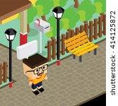 cartoon life isometric | Shutterstock .eps vector #414125872