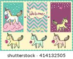 pony on the cloud. candies....   Shutterstock .eps vector #414132505