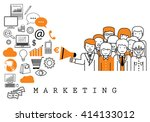 marketing team on white... | Shutterstock .eps vector #414133012
