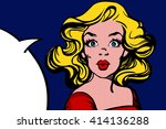 pop art surprised blond woman... | Shutterstock .eps vector #414136288