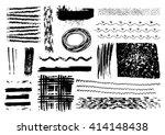 vector set of black brush... | Shutterstock .eps vector #414148438