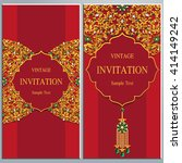 wedding invitation or card with ...   Shutterstock .eps vector #414149242