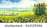 summer rural landscape with... | Shutterstock . vector #414159346