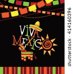 viva mexico hand drawn type... | Shutterstock .eps vector #414160396