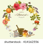 vector vintage natural round... | Shutterstock .eps vector #414162556