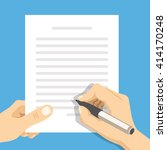 hands holding sheet of paper... | Shutterstock .eps vector #414170248