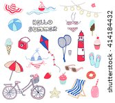 set of hand drawn summer themed ... | Shutterstock .eps vector #414184432