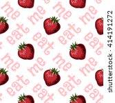 strawberries seamless hand... | Shutterstock . vector #414191272