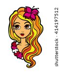 girl with lily | Shutterstock .eps vector #414197512