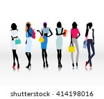 group of female models dresses... | Shutterstock .eps vector #414198016