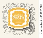 background with italian pasta... | Shutterstock .eps vector #414201682