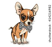 Stock vector puppy chihuahua in a tie vector illustration 414216982