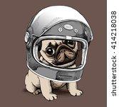 puppy pug in a racer helmet.... | Shutterstock .eps vector #414218038