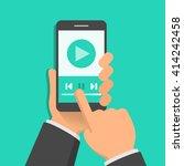 media player app on smartphone... | Shutterstock .eps vector #414242458