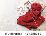 Hand Knitted Red Scarf And...