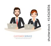 male and female call center... | Shutterstock .eps vector #414263836