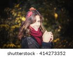 happy october girl with feaves... | Shutterstock . vector #414273352