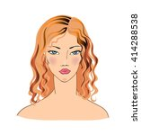 face of a beautiful young woman.... | Shutterstock .eps vector #414288538