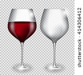 full and empty glass of wine on ... | Shutterstock .eps vector #414306412