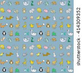 baby animals icons seamless... | Shutterstock . vector #414309352